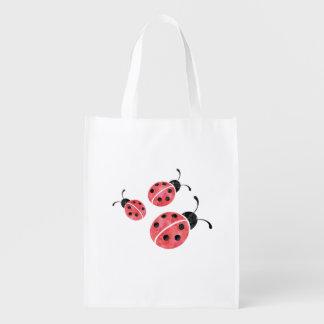 Watercolor Ladybug Reusable Grocery Bag