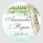 Watercolor Lake and Carve Tree Heart Classic Round Sticker