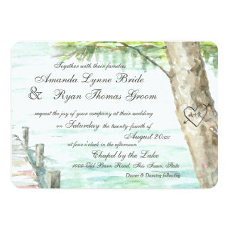 Watercolor Lake and Carved Tree Heart Card