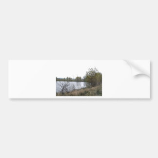 Watercolor Lake with Trees and Twigs Bumper Sticker