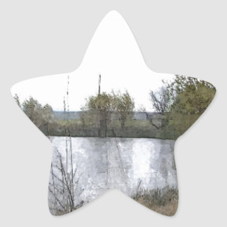 Watercolor Lake with Trees and Twigs Star Sticker