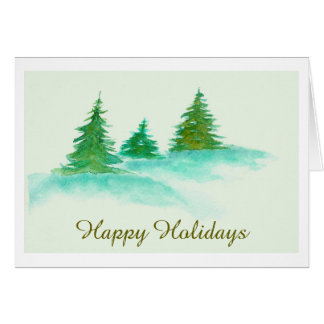 Watercolor Landscape Art Trees Happy Holidays Card