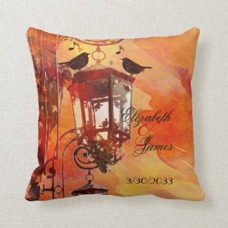 Watercolor Lantern Fall Wedding Pillow