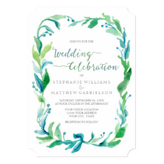 Watercolor Laurel Eucalyptus Leaf Foliage Wreath Card