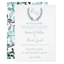 Watercolor Laurel Leave Monogram Wedding Card