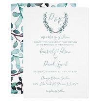 Watercolor Laurel Leave Monogram Wedding Card