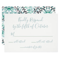Watercolor Laurel Leave Monogram Wedding rsvp Card
