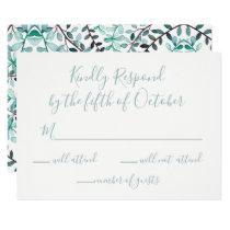 Watercolor Laurel Leave Monogram Wedding rsvp Card