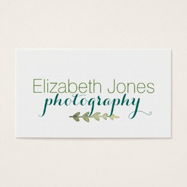 Professional Business Watercolor Laurel Leaves Business Card