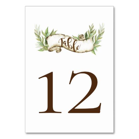 Watercolor Laurel Leaves Rustic Scroll Banner Table Number