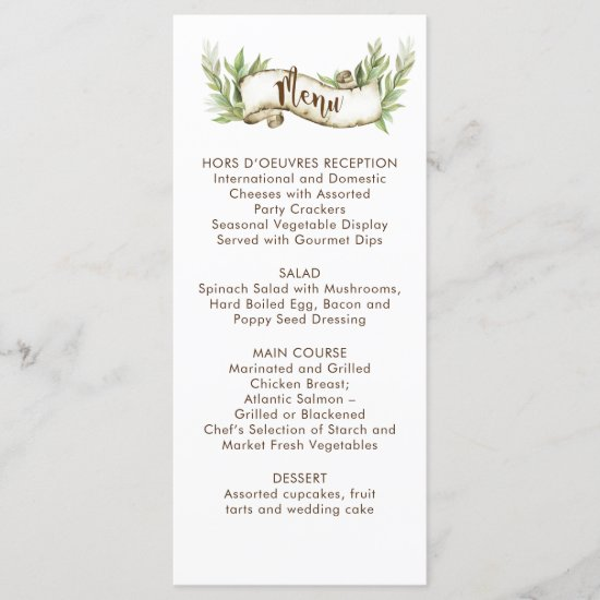 Watercolor Laurel Leaves Rustic Scroll Wedding Menu