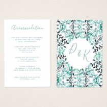 Watercolor Laurel Monogram accommodation cards