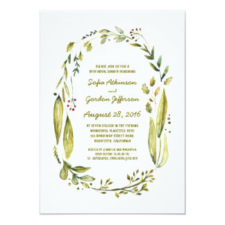 watercolor laurel rustic rehearsal dinner card