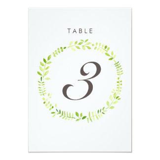 Watercolor Laurel Table Number Card