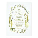 watercolor laurel wedding invitations