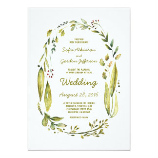 watercolor laurel wedding invitations