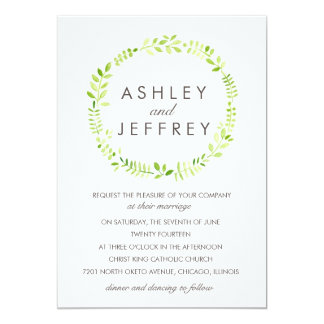 Watercolor Laurel with Patterned Back 5x7 Paper Invitation Card