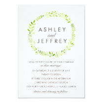 Watercolor Laurel with Patterned Back Invitation