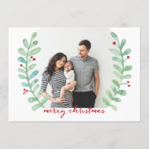 Watercolor Laurel Wreath Merry Christmas Photo Holiday Card