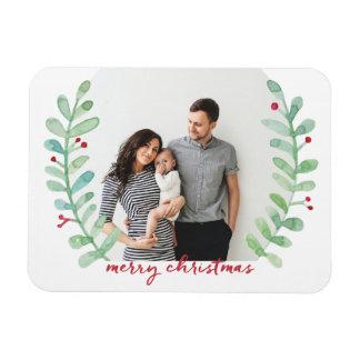 Watercolor Laurel Wreath Merry Christmas Photo Magnet