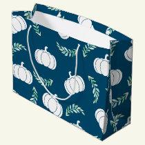 Watercolor Laurels & White Fall Pumpkins Large Gift Bag