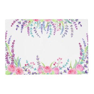 Watercolor lavender floral frame placemat
