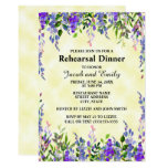 Watercolor Lavender Floral YellowWedding Rehearsal Card