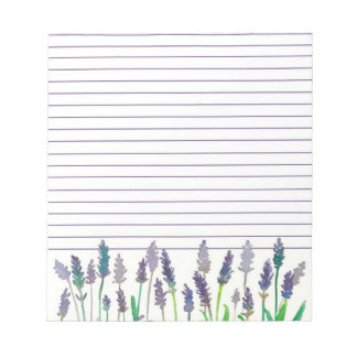Watercolor Lavender Flowers Lined Notepad