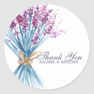 Watercolor Lavender Flowers Classic Round Sticker