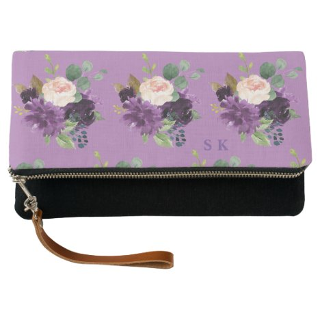 Watercolor Lavender Pink Flowers Pattern Monogram Clutch