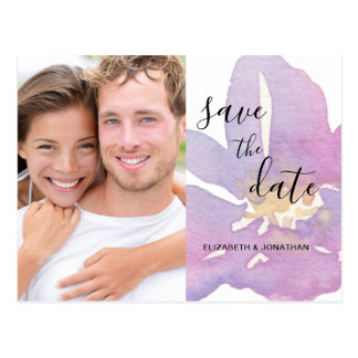 Watercolor Lavender Violet Photo Save The Date Postcard