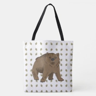 Watercolor Leaf Grizzly Bear Cub Tote Bag