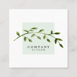 Watercolor Leaf Light Green Square Business Card