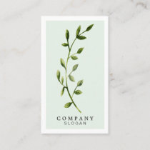 Watercolor Leaf Light Green Vertical Business Card