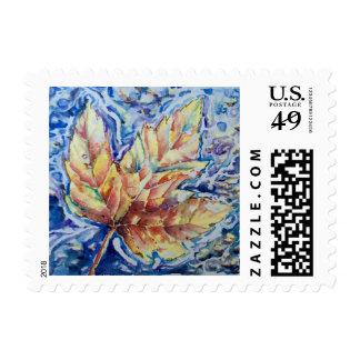 Watercolor Leaf Postage Stamp