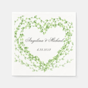 Watercolor leaf Wreath Wedding Paper Napkin