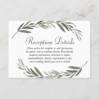 Watercolor leaf Wreath Wedding Reception details Enclosure Card