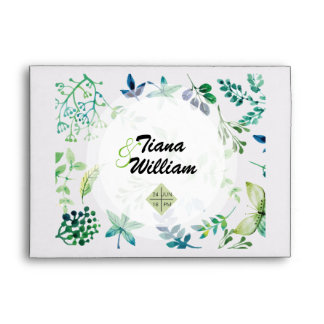 Watercolor Leaves and Butterflies Jungle Envelope