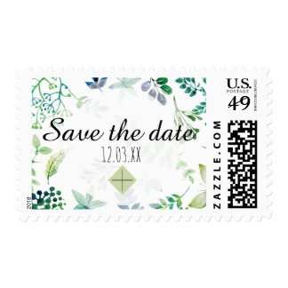 Watercolor Leaves and Butterflies Jungle Postage