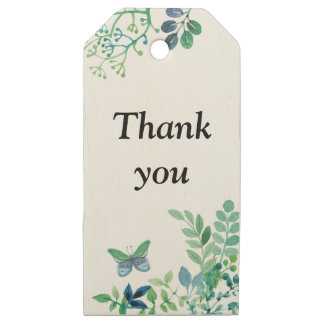 Watercolor Leaves and Butterflies Jungle Wooden Gift Tags