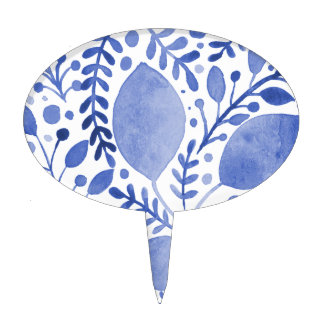 Watercolor leaves - blue cake topper
