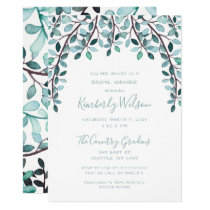 Watercolor Leaves Botanical Bridal Shower Card