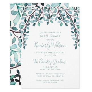 Watercolor Leaves Botanical Bridal Shower Card