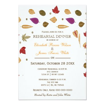 Watercolor Leaves Fall rehearsal dinner invite