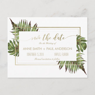 Watercolor leaves & gold Save the Date Announcement Postcard