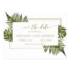 Watercolor Leaves & Gold Save The Date Postcard at Zazzle