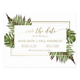 Watercolor leaves & gold Save the Date Postcard