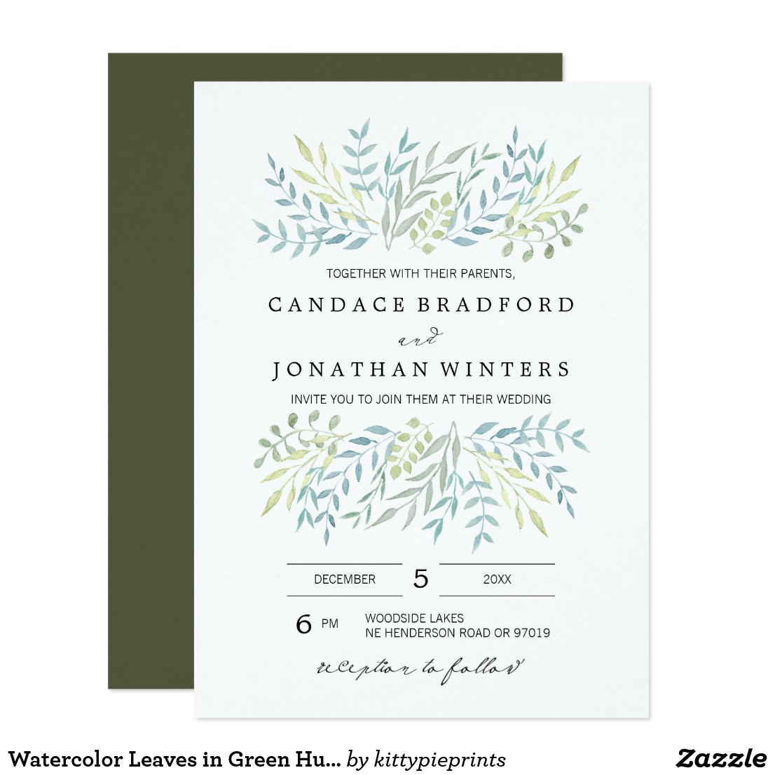 Watercolor Leaves in Green Hues Wedding Card