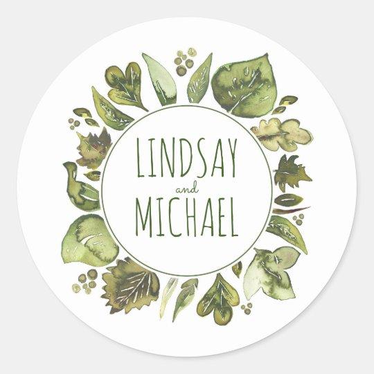 watercolor leaves laurel greenery wreath wedding classic round