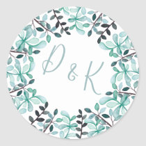 Watercolor Leaves Monogram Wedding Classic Round Sticker